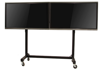 Two interactive flat panels on one mobile stand